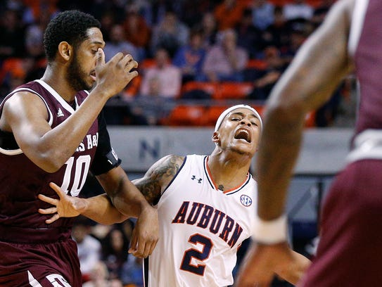 Auburn guard Bryce Brown reacts to being fouled by