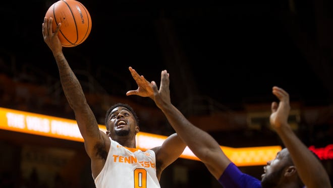 Tennessee guard Jordan Bone (0) attempts a shot during Tennessee's home basketball game against High Point at Thompson-Boling Arena on Tuesday, Nov. 14, 2017.