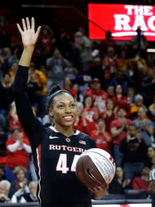 Rutgers senior forward Betnijah Laney was honored Sunday after scoring her 1,000th career point.(Photo: AP)