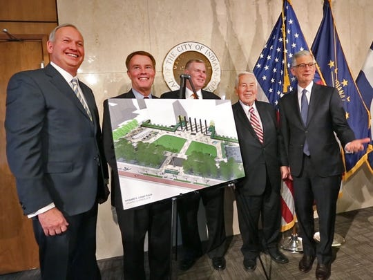 Former Indianapolis Mayors, including Bart Peterson, Greg Ballard, Richard Lugar, and Steve Goldsmith pose for a photo with Mayor Joe Hogsett, second from left, in the Mayor's conference room of the City-County Building, Monday, Nov. 13, 2017.  Four former Indianapolis Mayors joined the present Mayor Joe Hogsett to honor Senator and former Indy Mayor Richard Lugar celebrating the 50th anniversary of Lugar's election to the mayoral post.  As part of the celebration, Mayor Hogsett announced the renaming of the City-County Building Plaza as the Richard G. Lugar Plaza.  The Plaza will be reopened after construction in 2018.
