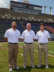 Northwestern State has three new coordinators for this season, the second in coach Jay Thomas' tenure. Ben Norton (left) was promoted from offensive line coach to offensive coordinator. Mike Lucas (center), who has 26 years of coaching experience in the Southland Conference, is the new defensive coordinator. August Mangin (right) is back for a second stint at NSU as special teams coordinator after spending the past two seasons at LSU.