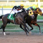 Wildcat Red, right, edges General a Rod in the Grade II Fountain of Youth Stakes at Gulfstream Park in Feburary.