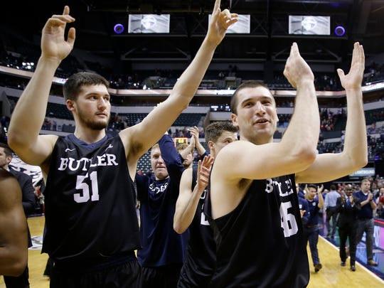 Butler forward Andrew Chrabascz and center Nate Fowler