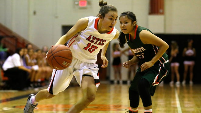 Aztec's Elana Kresl dribbles the ball toward the basket during Tuesday's game against Wingate at Aztec High School.