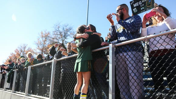 Lakeland's Cali Cortese (1) celebrates with her future family member Megan Ortner after defeating Garden City 1-0 and won the NYSPHSAA Class B Championships that was held at Maine-Endwell High School in Endwell, NY.