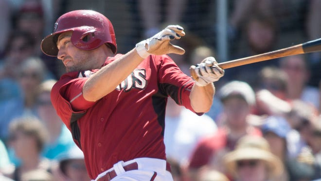 Arizona Diamondbacks outfielder A.J. Pollock singles during the second inning of a Cactus League game against the San Diego Padres at Salt River Fields at Talking Stick on Thursday, March 26, 2015.