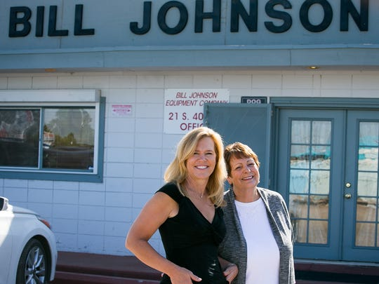 Owner and manager Ginger Johnson, right, and her daughter, Shelly Schira, stand in front of drilling tools at their family business Bill Johnson Equipment Co. in Phoenix in April.