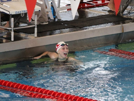 Red Lion grad Morgan Pfaff reacts after finishing her preliminary 200 IM swim at the AAC championships -- submitted.