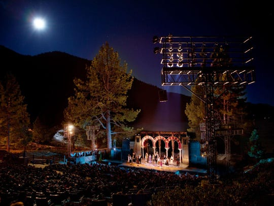 An overview scene of the Lake Tahoe Shakespeare Festival's stage and background.