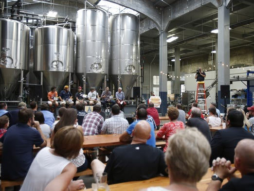 The crowd in the tap room during the Enquirer Beer Salon held at Rhinegeist brewery in Over-the-Rhine.