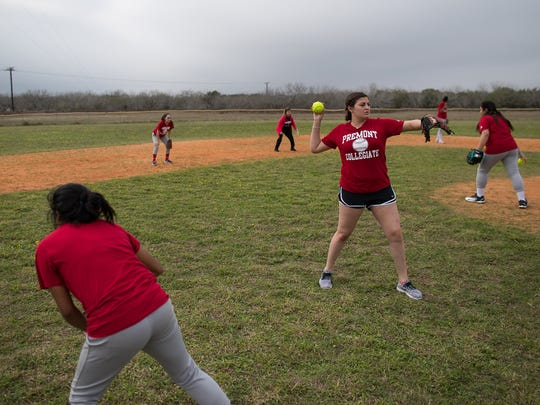 The Premont High School softball team warms up at the start of practice on Wednesday, Feb. 14, 2018.