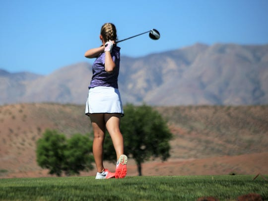 Desert Hills' K'Jahna Plant tees off during the 4A state championships at Sunbrook.