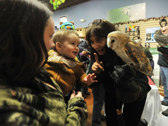 Marge Gibson, right, executive director of the Raptor Education Group Inc., describes the differences between owls Saturday during a fundraiser at Wild Birds Unlimited in Rib Mountain.
