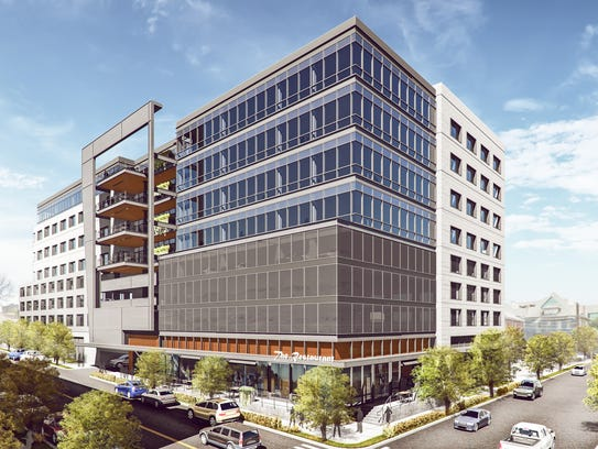 A rendering of the 18th & Chet mixed-use project, which