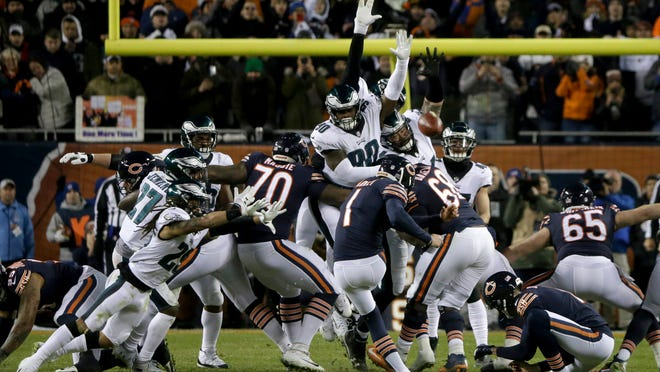 Chicago Bears kicker Cody Parkey (1) kicks and misses a field goal during the second half of an NFL wild-card playoff football game against the Philadelphia Eagles Sunday, Jan. 6, 2019, in Chicago. The Eagles won 16-15. (AP Photo/David Banks)