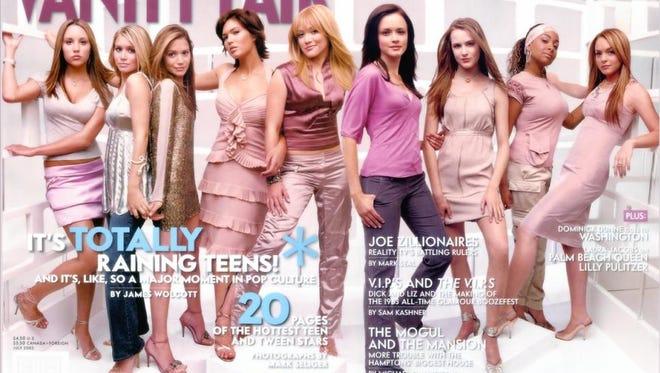 """2003 cover of """"Vanity Fair"""" (L-R): Amanda Bynes, Mary-Kate and Ashley Olsen, Mandy Moore, Hilar y Duff, Alexis Bledel, Evan Rachel Wood, Raven, and Lindsay Lohan."""
