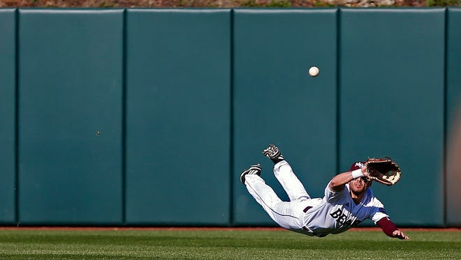 Missouri State outfielder Hunter Steinmetz makes a diving catch for an out during a game between the Missouri State Bears and the Central Arkansas Bears at Hammons Field on March 3, 2017. Steinmetz has a knack for making spectacular catches and had more over the weekend.  News-Leader file photo Missouri State Bears outfielder Hunter Steinmetz (7) makes a diving catch for an out during first inning action of the NCAA baseball game between the Missouri State Bears and the Central Arkansas Bears at Hammons Field in Springfield, Mo. on March 3, 2017.
