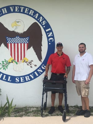 Jason Picaro (left) outside Vero Beach Veterans with Next Generation Veterans Commander Scott Keele