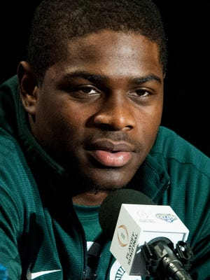 Michigan State's LJ Scott during a press conference for the Cotton Bowl on Monday December 28, 2015 in Dallas, Tx.