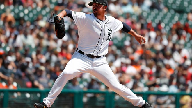 Tigers pitcher Blaine Hardy throws in the second inning on Sunday, May 27, 2018, at Comerica Park.