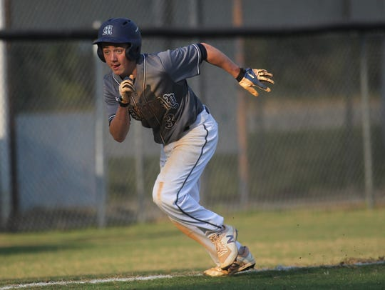 Maclay's Brody Poppell breaks for home on a hit by
