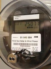 A meter shows the number of kilowatt hours of electricity