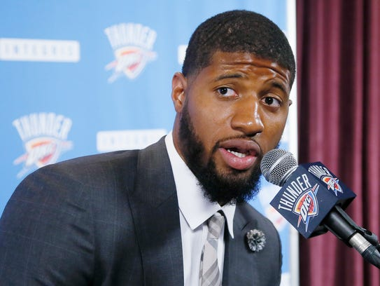 Oklahoma City Thunder forward Paul George answers a