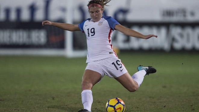 Izzy Rodriguez puts her foot into one for Team USA. She is a Salem High School alum.