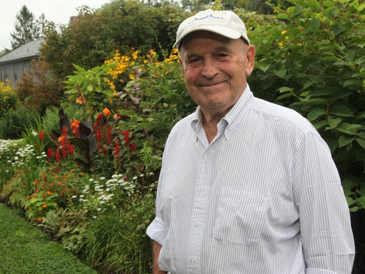 Dick Button in the garden at his home in North Salem.