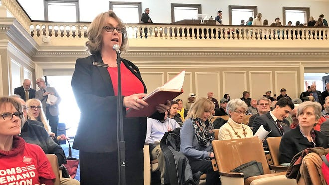 State Rep. Debra Altschiller, D-Stratham, testifies in the New Hampshire House in March 2019.