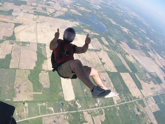Jarrod Tuinstra skydives from 5,000 feet.