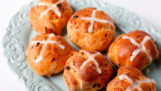 Hot cross buns, made by food writer Megan McCaffrey.