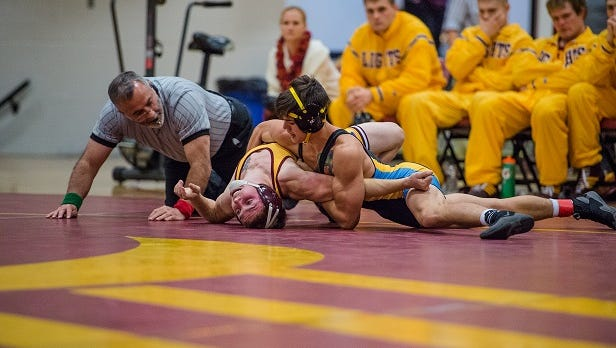 University of Providence senior Isaac Wilson in a match againt MSU-Northern last season. The Argos play host to the Battle of the Rockies Duals and The Heritage Inn Open on Friday and Saturday, respectively.