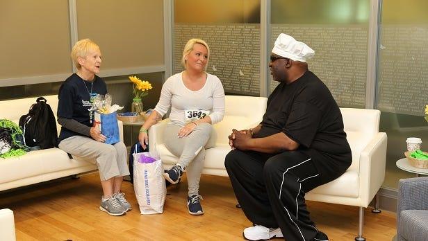 Deborah Martinez, Ashley Startek and Vernell Williams meet on June 3 at the NJ Sharing Network headquarters in New Providence, N.J.