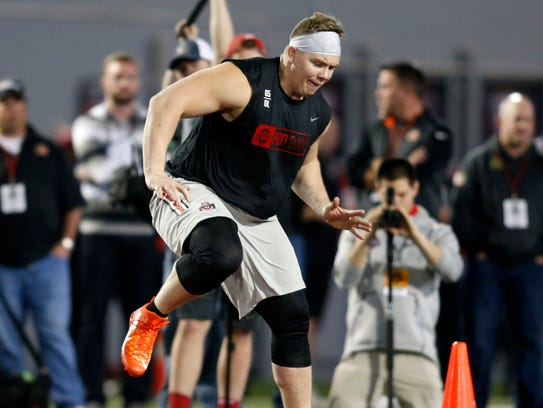 Pat Elflein is shown here during football pro day in March at Ohio State University in Columbus, Ohio. The health of the Minnesota Vikings rookie will be key as the Vikings seek to make a playoff run.