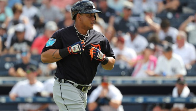 Miguel Cabrera singles during the fourth inning of the Tigers' 3-1 exhibition loss to the Yankees on Friday in Tampa, Fla.