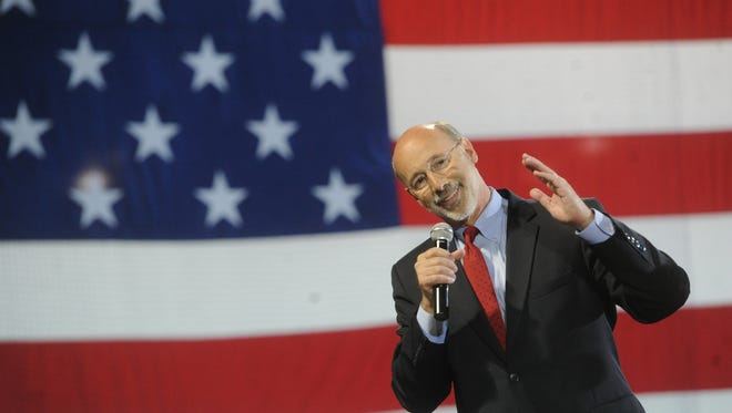 Tom Wolf talks to his supporters during a rally at Santander Stadium on Tuesday, May 20, 2014 after winning the Democratic nomination for Pa. Governor.
