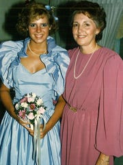 Kristie Harrold with her mother on prom night in 1986.