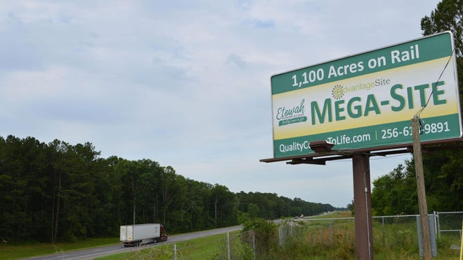 A sign promoting the Etowah County Megasite sits adjacent to I-59 near Attalla.