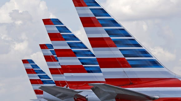 American Airlines planes parked at Miami International