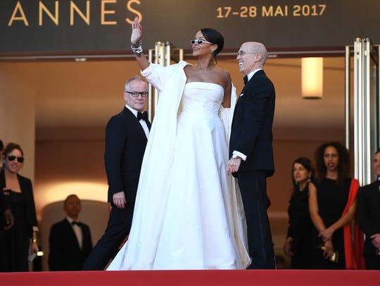 "Rihanna and Jeffrey Katzenberg attend the ""Okja"" screening"