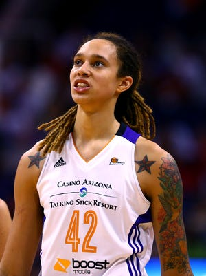 Phoenix Mercury center Brittney Griner (42) against the Chicago Sky during game two of the WNBA Finals at US Airways Center. The Mercury defeated the Sky 97-68.