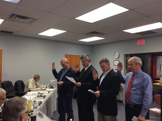 Union Mayor Larry Solomon swore in John Mefford, Eric