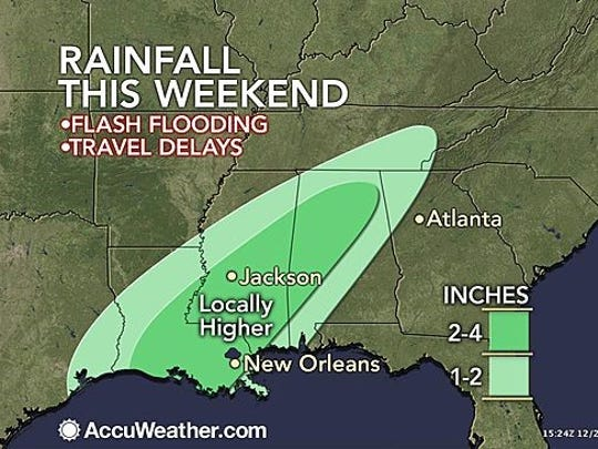 Projected rainfall this weekend