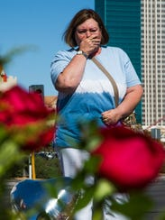 Arliss Gant, 57, of Independence, Mo., becomes emotional