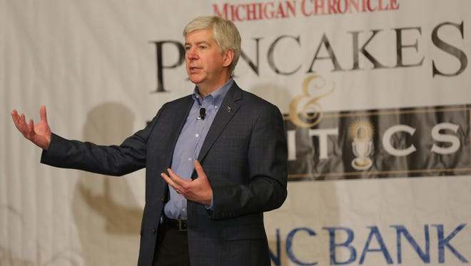 Michigan Gov. Rick Snyder speaks at the 2016 Michigan Chronicle's Pancakes & Politics breakfast at the Detroit Athletic Club on Monday, April 11, 2016.