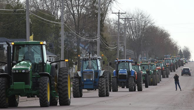 """Auburndale High School's annual """"Bring Your Tractor to School Day"""" in 2015."""