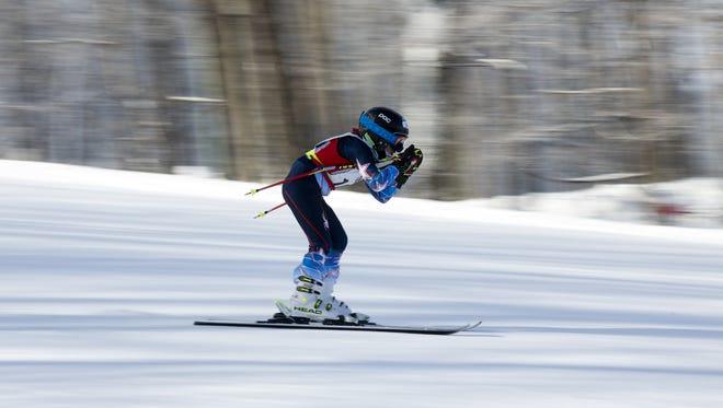 Ryan Burger of Wausau during alpine skiing in the 2016 Badger State Games at Granite Peak in Wausau.