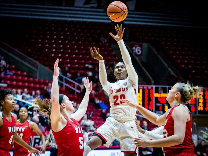Ball State's Frannie Frazier shoots past Western Kentucky's