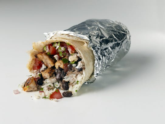 A chicken burrito from Chipotle Mexican Grill, set